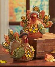 Jeweled Fall Figures Harvest Turkey Couple Autumn Thanksgiving Table Party Decor