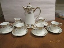 NIPPON CHOCOLATE SET; POT & SIX CUPS/SAUCERS; HEAVY GOLD; PERFECT; GREEN WREATH