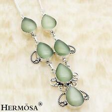 Perfect Cat's Eye Grape Green Opal. 925 Sterling Silver Necklaces 18'' E8693