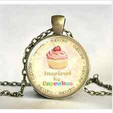 Cake art cupcake Cabochon Glass Chain bronze Pendant Necklace Painting Gift