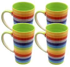WINDHORSE Set of 4 Rainbow Striped Latte / Hot Chocolate / Coffee Mugs - NEW