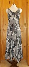 PER UNA black ivory off-white floral patchwork chiffon summer sun dress 14R 42