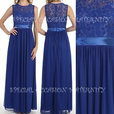 NEW Long Lace Top Chiffon Royal Blue Satin Sash Maternity Dress MEDIUM Wedding