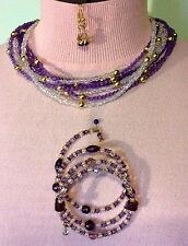 Necklace-Earring-Bracelet Set Purple & Clear Crystal and Gold Plated Beads