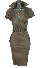 Karen Millen Khaki Military Safari Shirt Trench Pencil Dress UK 10  EU 38