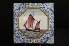 "Antique Hand Painted Minton Hollins Tile Ship & Ocean Scene, 6"" x 6"" Square"