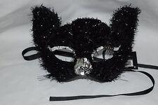 Women's Glitter Cat Mask, Black, Silver Sequins GORGEOUS