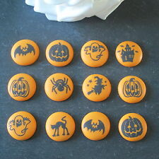 12 HALLOWEEN EDIBLE SUGAR CAKE TOPPERS, CUPCAKE DECORATION