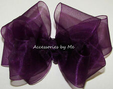 Plum Organza Hair Bow Grape Purple Ribbon Baby Girls Wedding Pageant Accessories
