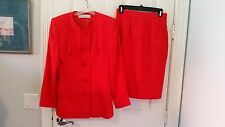 Couture Givenchy Red Skirt Suit - Size S