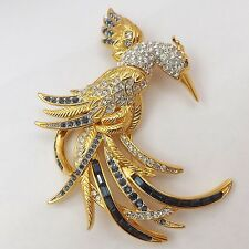 Nolan Miller Signed Bird of Paradise Blue & Clear Rhinestone Brooch Pin
