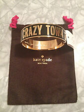 NWT Kate Spade Rare Idiom Crazy Town Bangle Black Gold Enamel *Sold out*