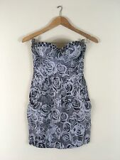 GUESS Dress 1 Black White Flower Tube Strapless Free Ship Club Sexy Fitted Mini