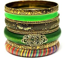 Women's 18ct 10 Pieces Yellow Gold Plated Green Bracelets Bangles Set A208
