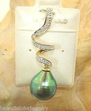 11.9mm 11.86Cts Black Tahitian Pearl 0.12Cts Diamond 14k Yellow Gold Pendant #7Y