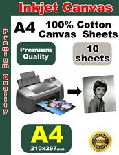 10 sheets A4 Printing 100% Cotton Inkjet Canvas (350gsm) White Giclee ink jet