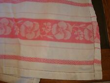 VINTAGE TABLECLOTH, soft cotton blend, White with PINK PANSIES PANSY TRIM, large