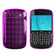 Flexible TPU Gel Case for Blackberry Bold 9900/9930 - Purple Argyle