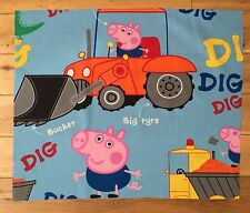 PEPPA PIG GEORGE DIGGER/TRACTOR CHILDREN'S FABRIC FQ-48X60cm POLYCOTTON MATERIAL