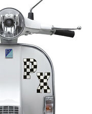 PX Sticker Fits Vespa Legshield or Fly Screen - Ska Check Black White Decal LT26
