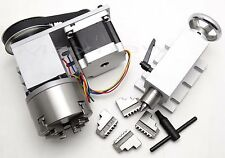 CNC 4th A Axis,4 Jaw Claw 100mm Chuck,NEMA 34 Router Rotational Axis + Tailstock