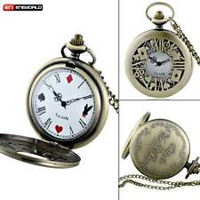 Vintage Alice In Wonderland Poker Card Pocket Watch Quartz Necklace Pendant Gift