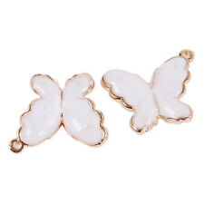 100pcs New White & Gold Plated Butterfly Shape Alloy Pendant Jewellery Charms LC