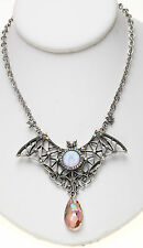 KIRKS FOLLY EMPRESS BAT SEAVIEW MOON and CRYSTAL NECKLACE st / tanzanite