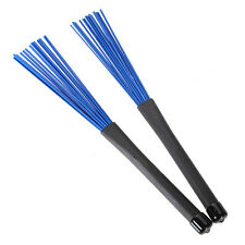 32cm High Retractable Rubber Handles Jazz Drum Brushes Sticks Blue Nylon 1Pair