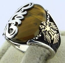 925 Sterling Silver Double Headed Eagle Tiger's Eye Stone Men's Ring! Size 9.5