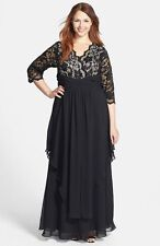 NEW $238 Eliza J Black  Lace & Layered Chiffon Gown  Mother Of The Bride.SZ:14 W