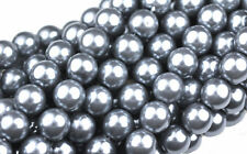 75 Storm Grey Czech Glass Round Pearl Beads 8MM