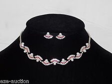 Bridal Silver Crystal, Ruby, Pearl Prom Collar Choker Necklace & Earring Set