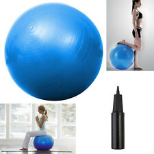 "Yoga Ball 25"" 65cm Exercise Gymnastic Fitness Pilates Balance w/Air Pump Bl"