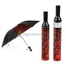 BW#A Portable Creative Fashion Three Folding Sun-rain Umbrella + Wine Bottle