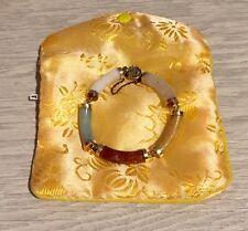 VINTAGE ASIAN MULTI COLORED JADE SEGMENT TUBE BRACELET, 14K GOLD,  MINT!