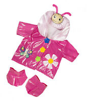 """Pink Butterfly Raincoat & Boots Outfit clothes to fit 15"""" Build a Bears Plush"""