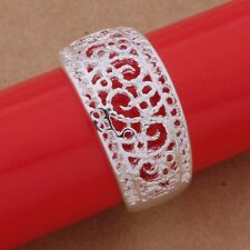 ELEGANT BRIDAL SILVER CURVED SCRIPT FILIGREE VALENTINE RING FAVOUR NAPKIN HOLDER