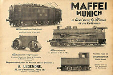 MUNICH MUNCHEN MAFFEI LOCOMOTIVES COMPRESSEURS LEGENDRE PUBLICITE 1930