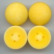 5 VINTAGE MATTE YELLOW ACRYLIC 30mm. ROUND SMOOTH CABOCHONS 6711
