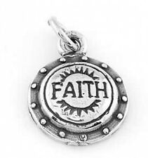 STERLING SILVER SHIELD OF FAITH CHARM PENDANT