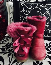 Red Bailey Ugg Boots With Bows Girls 5 / Ladies 7.5