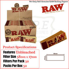 Raw Rolling Paper Natural Roach Filter Tips 50 Packs Per Box - One Full New Box
