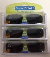 3 SOLAR SHIELD Clip-on Polarized Sunglasses Size 56 Rec 15 Black lens Full Frame