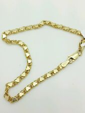 "14k Solid Yellow Gold Heart Link Bracelet Chain 7"" 2.9mm Women"