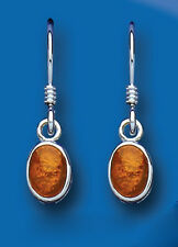 Sterling Silver Real Amber Ovals Drop Earrings Hallmarked