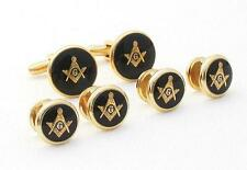 Masons Cufflink and Stud Set Black Face