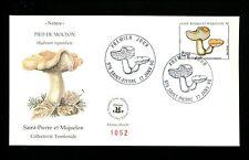 Postal History St. Pierre + Miquelon Scott #490 FDC Mushroom / Fungi 1/17/1990