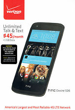 "Verizon HTC Desire 526 4G LTE WiFi Black Android Smartphone 8GB 4.7"" Touchscreen"
