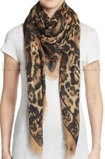 "ALEXANDER MCQUEEN brown ANIMALIER SKULL 52""-Square cashmere scarf NEW Auth $725"